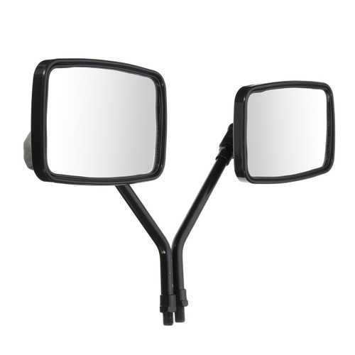 10mm Thread Black Rectangle Rear View Side Mirrors For Motorcycle Scooter ATV