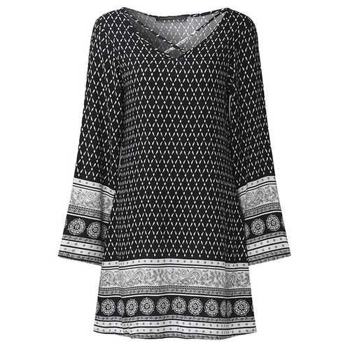 Bohemian Print V-neck Mini Dress