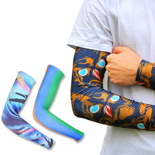 Mens Anti-UV Arm Warmer Outdoor Sport Riding Sunscreen Arm Guard Tattoo Arm Sleeve