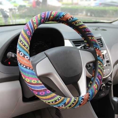 15″/38cm Universal Car Steel Ring Wheel Cover Natural Fiber Wrap Colorful Non-slip