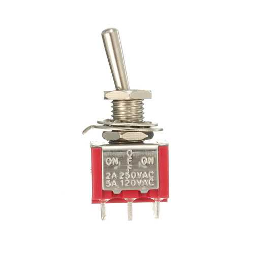 Red Toggle Switch DPDT On-Off-On 6 PINs 3 Position 5A 120Vac /2A 250Vac