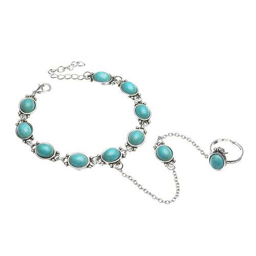 Bohemian Blue Turquoise Ring Bracelet Vintage Alloy Chain Bracelet Women Jewelry