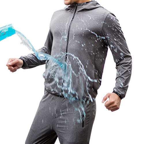 BEVERRY Men Long Sleeve Microfiber Hydrophobic Waterproof Anti- fouling Quick Drying Coat Jacket