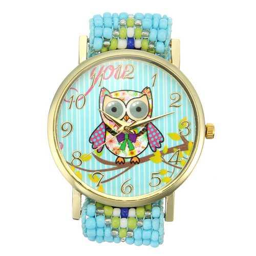 Custom Folk Style Cartoon Owl Pattern Alloy Case Cute Casual Women Quartz Wrist Watch