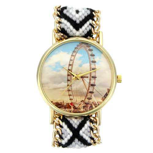 Custom Folk Style Women Watch Ferris Wheel Alloy Case Knitted Fabric Strap Casual Retro Quartz Wrist Watch