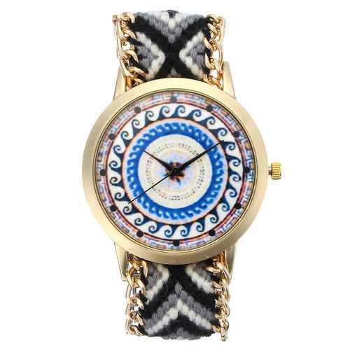Custom Folk Women Watch Kaleidoscope Pattern Alloy Case Casual Retro Quartz Wrist Watch