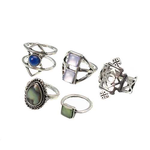 5 Pcs Stylish Bohemian Geometric Alloy Resin Ring Set Jewelry for Women