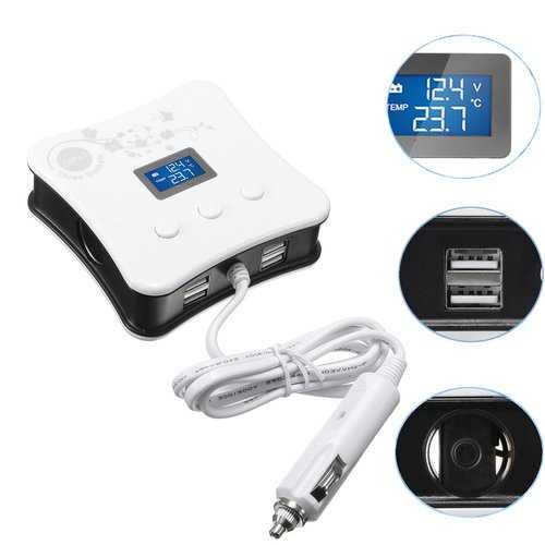 4 USB 3 Way Triple Car Charger Socket Splitter LED Light Voltmeter Temperature