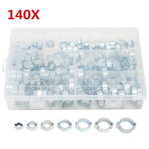 140Pcs Double Ear O Clips Clamps Steel Zinc Plated Assortment for Hydraulic Hose Fuel