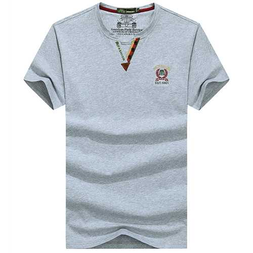 Fashion Casual V-neck Pure Color T-Shirt Men's Wash-and-wear Short Sleeve Cotton T-shirt