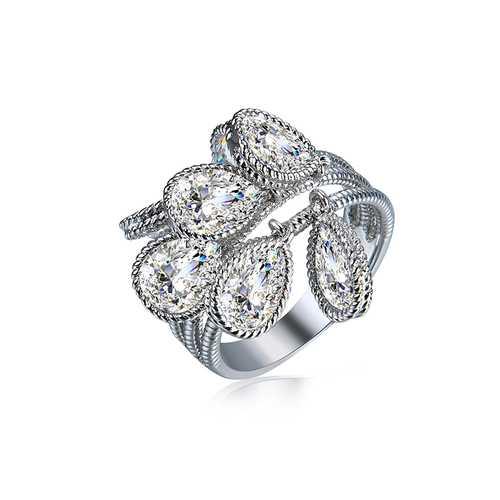Elegant Silver Luxury Ring Water Drop Zircon Ring for Women
