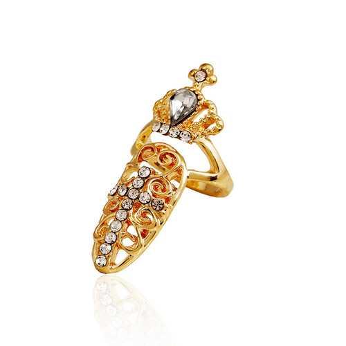 Vintage Hollow Shiny Crown Rhinestone Cross Diamond Nail Rings