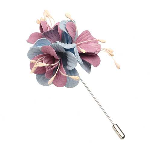 Elegant Colorful Fabric Flower Pins Artificial Pearl Brooches Clothing Accessories