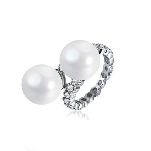 Elegant Ring Pearl Full Zircon Irregular Women Ring