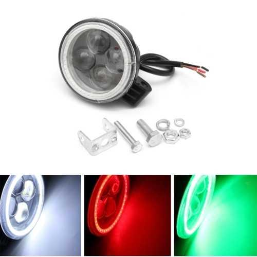 12V 180lm Motorcycle Projector 4 LED Headlight Car Auto Fog Light W/ Angel Eye Halo Ring DRL