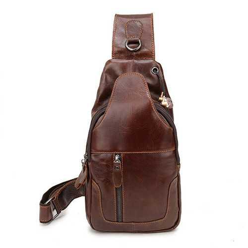 Ekphero® Men Genuine Leather Vintage Chest Bag Casual Crossbody Bag