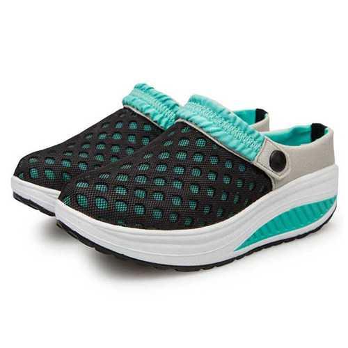 Mesh Women Rocker Sole Shoes Breathable Slipper Casual Beach Sandals