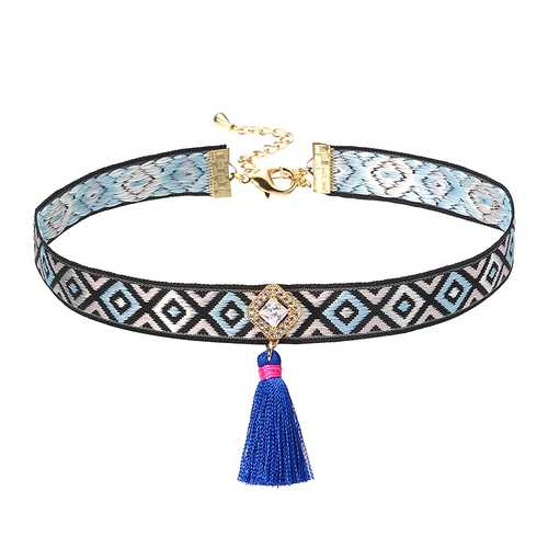 JASSY® Bohemian Multicolor Embroidery Choker Gold Plated White Zircon Blue Tassel Necklace