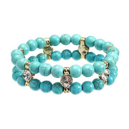 JASSY® Antique Turquoise Beads Rhinestone Stretch Bracelet
