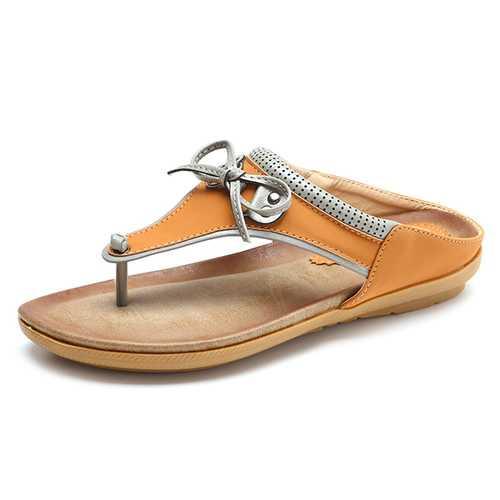 SOCOFY Butterfly Knot Clip toe Flat Slippers