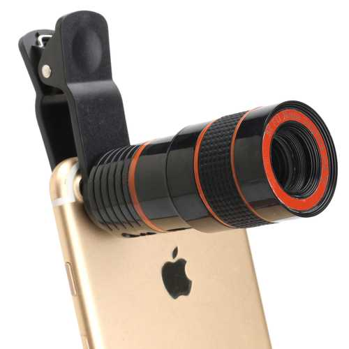 8X HD360 Camera Lens with Clip Zoom Telescope for Samsung S8 Xiaomi 6 iPhone 7