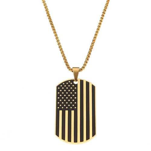 American Flag Sports Titanium Steel Necklace Trendy Unisex Clothing Accessories for Men Women