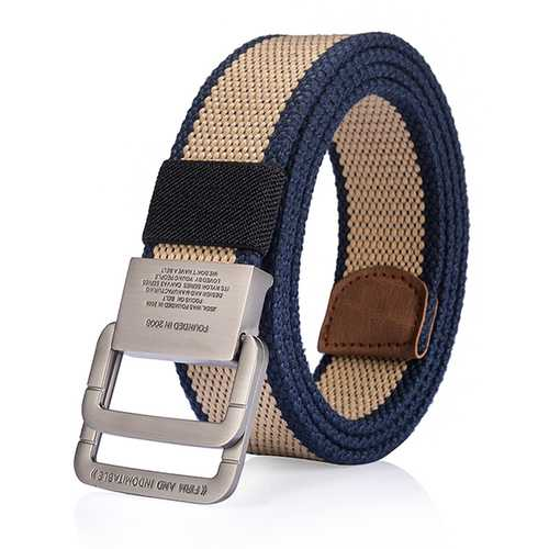 125CM Mens Canvas Belt Double Ring Alloy Buckle Tactical Durable Pants Waistband
