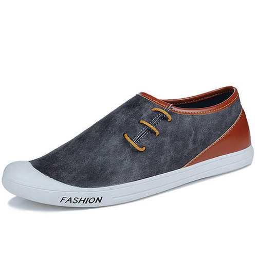 Men Breathable Hand Stitching Casual Leather Flats