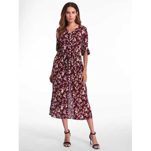 Bohemian Floral Printed Loose 3/4 Sleeve Maxi Dress