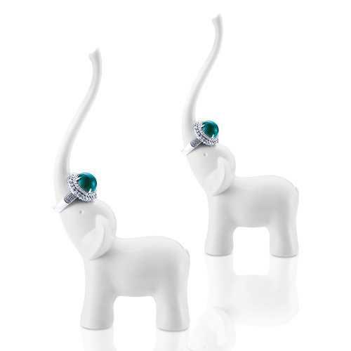 Honana DX-F1 Elephant Swan Ceramics Ring Holder Elegant Fashion Show Shelf Craft Articles