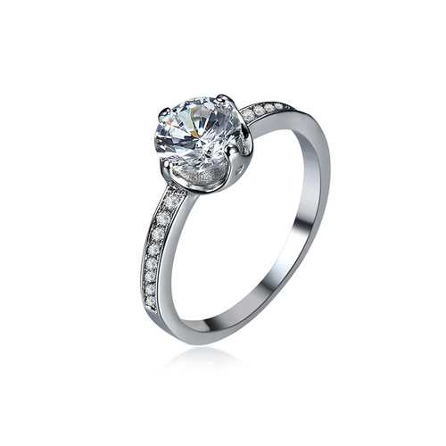 Sweet Silver Full Zircon Women Weeding Ring