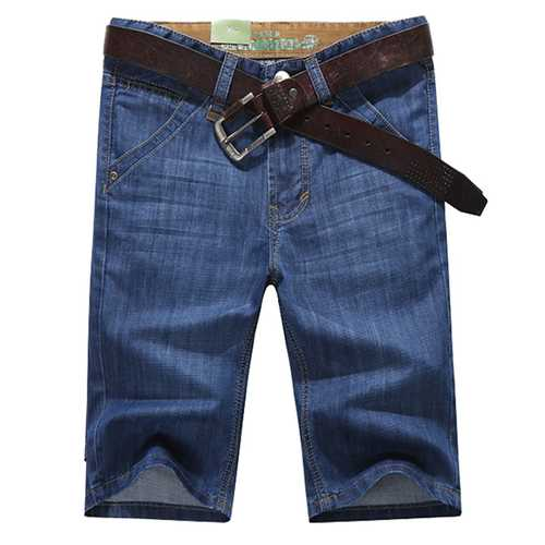 Mens Thin Summer Fashion Mid Rise Denim Shorts Knee Length Casual Jeans
