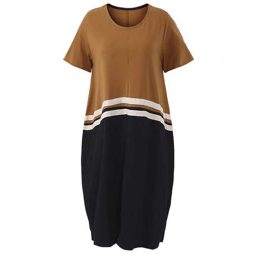 Casual Loose Women Contrast Color Patchwork Short Sleeve Dresses
