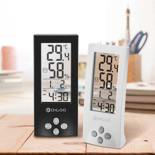 Digoo DG-TH1177 Wireless Digital Transparent Screen Indoor Hygrometer Thermometer Sensor Timer Alarm Clock