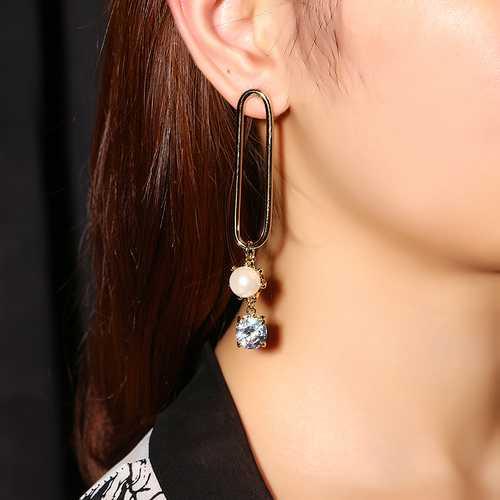 JASSY® Creative Asymmetrical Clip Shape Gold Silver Earring