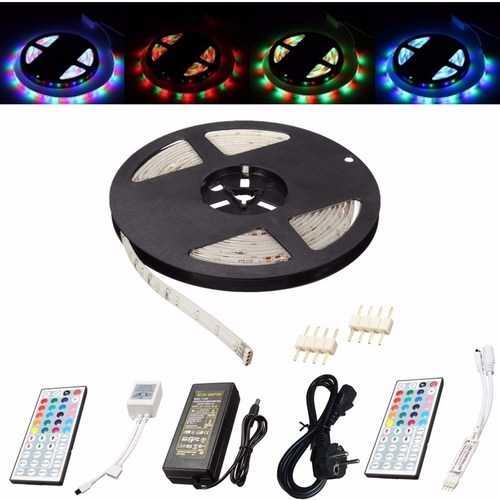 5M 3528 SMD 300LED RGB Waterproof Flexible Strip Light 44 keys Remote Control EU Plug DC12V