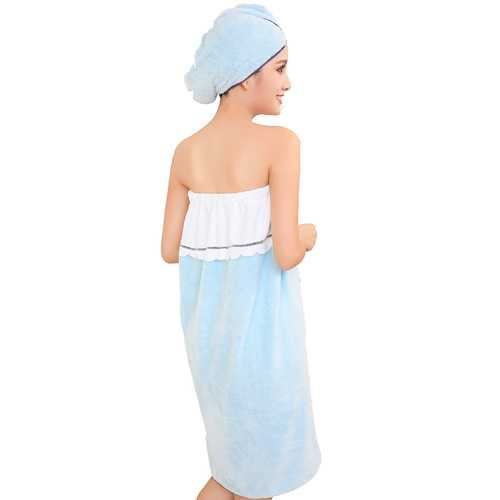 Honana BX-R970 Able Wear Spa Microfiber Soft BathRobe Women Skirt Bath Towel with Bath Cap