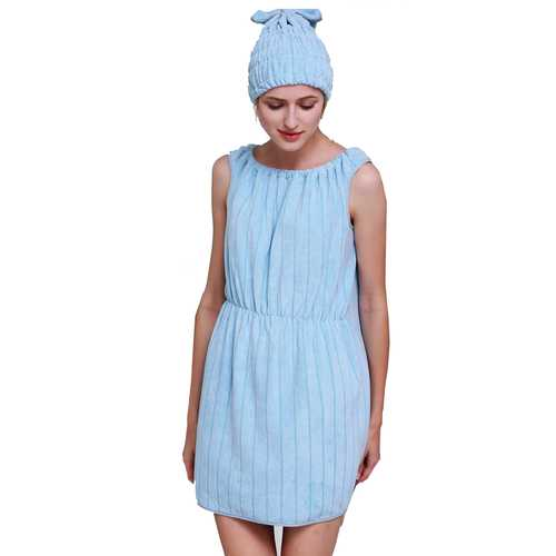 Honana BX-R962 Soft Bathrobe Women Bath Dress Microfiber Cozy Spa Bath Skirt with Bath Cap
