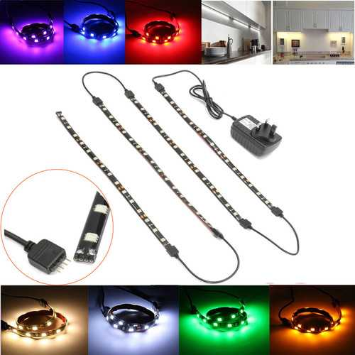 4*30cm 5050 Black LED Under Kitchen Cupboard Cabinet Strip Light Kit with UK Plug