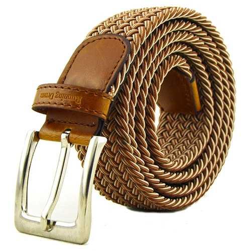 115CM Men Women Stretch Braided Elastic Canvas Belt Casual Pin Buckle Pants Strip