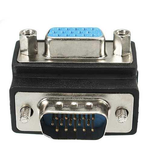 90 Degree Right Angle 15 Pin VGA SVGA Male to Female Converter Adapter
