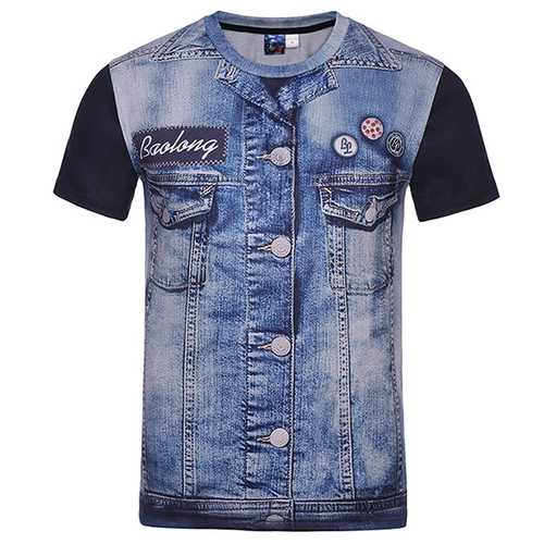 Fashion Creative 3D Denim Jacket Printed T-Shirts