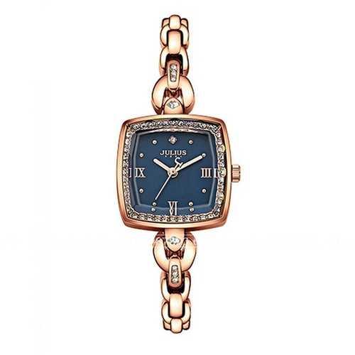 JULIUS 871 Luxury Rhinestone Simple Square Dial Fashion Ladies Quartz Watch