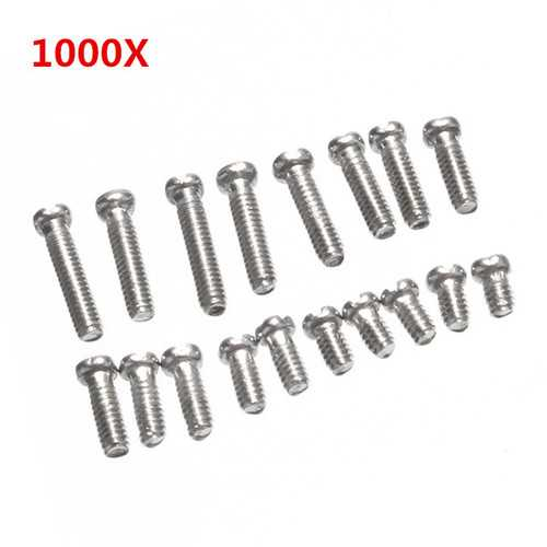 1000Pcs Bottom Cover Screw Steel Repair Kit for Clock Watch with Case 10 Sizes
