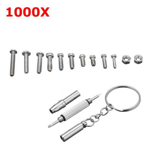 1000Pcs Micro Tiny Screws Nut Repair Kit with Tools for Eyeglasses Sunglass Spectacles