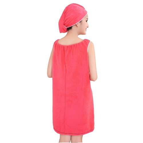 Honana BX-R972  Absorbs Bath Cozy Microfiber Women Skirt Bath Towel BathRobe  with Bath Cap