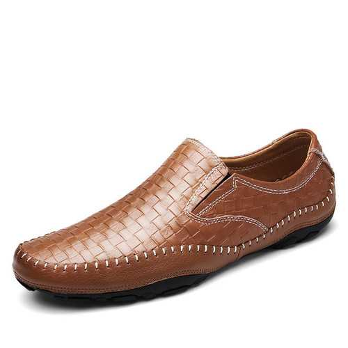 Banggood Shoes Men Leather Woven Style Loafers