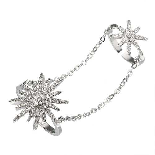 Punk Platinum Plated Ring Gemstone Inlay Chain Linked Two Rings Fashion Jewelry for Women