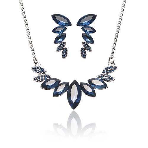 JASSY® Elegant Platinum Plated Sapphire Mariquesa Crystal Jewelry Set Anallergic for Women