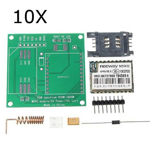 10Pcs DIY M590E GSM GPRS Communication Module Kit Dual Band 900/1800MHZ 85.6 Kbit/s For